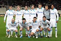 BILDET INNGÅR IKKE I NOEN FASTAVTALER MEN MÅ KJØPES SEPARAT<br /> <br /> Fotball<br /> Foto: imago/Digitalsport<br /> NORWAY ONLY<br /> <br /> 16.12.2010 <br /> Lagbilde Zenit St. Petersburg, hi.v.li.: Danko Lazovic, Tomas Hubocan, Roman Shirokov, Nicolas Lombaerts, Aleksandr Bukharov, Vyacheslav Malafeev und Bruno Alves; vorn: Alessandro Rosina, Aleksandar Lukovic, Igor Denisov, und Konstantin Zyryanov