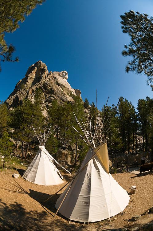 Teepees, Mount Rushmore National Memorial, Black Hills, South Dakota USA
