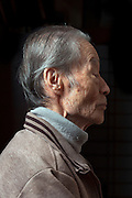 side view portrait of elderly Japanese man