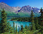 White spruce boreal forest and delta of Hope Creek, Upper Twin Lake, Lake Clark National Park, Alaska.