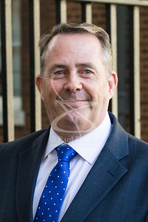 Downing Street, London, April 25th 2017. International Trade Secretary Liam Fox leaves the weekly cabinet meeting at 10 Downing Street in London. Credit: ©Paul Davey