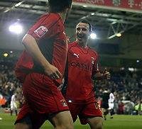 Photo: Mark Stephenson/Sportsbeat Images.<br /> West Bromwich Albion v Coventry City. Coca Cola Championship. 04/12/2007.Coventry's Michael Mifsud (R) celebrates his 2ed goal for 4-2