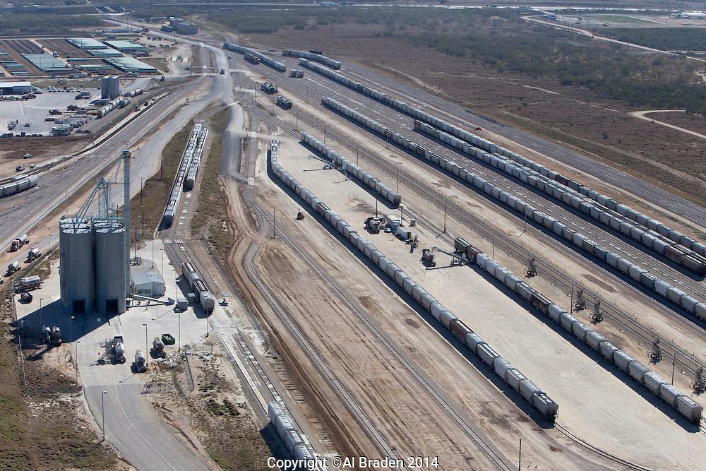 Halliburton fracking sand silos at Gardendale Rail Terminal, Cotulla, TX