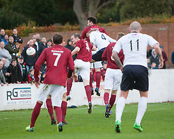 Raith Rovers Paul Watson (4) scoring their second goal.<br /> Linlithgow Rose 0 v 2 Raith Rovers, William Hill Scottish Cup Third Round game player today at Prestonfield.