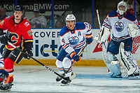 PENTICTON, CANADA - SEPTEMBER 8: Ethan Bear #74 of Edmonton Oilers skates against the Calgary Flames on September 8, 2017 at the South Okanagan Event Centre in Penticton, British Columbia, Canada.  (Photo by Marissa Baecker/Shoot the Breeze)  *** Local Caption ***