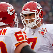 Kansas City Chiefs quarterback Matt Cassel had words with center Casey Weigmann, left, after Cassel fumble led to a Broncos 75-yard touchdown return at Invesco Field at Mile High Stadium in Denver, Co., on November 14, 2010.