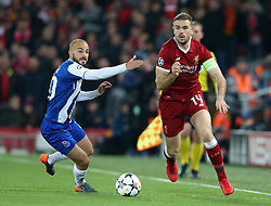 March 6, 2018 - Liverpool, U.S. - 6th March 2018, Anfield, Liverpool, England; UEFA Champions League football, round of 16, 2nd leg, Liverpool versus FC Porto; Jordan Henderson of Liverpool beats Bras Andre of Porto (Photo by Dave Blunsden/Actionplus/Icon Sportswire) ****NO AGENTS---NORTH AND SOUTH AMERICA SALES ONLY****NO AGENTS---NORTH AND SOUTH AMERICA SALES ONLY* (Credit Image: © Dave Blunsden/Icon SMI via ZUMA Press)