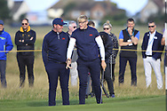 Thomas Sloman (GB&I) and Thomas Plumb (GB&I) on the 5th during Day 2 Foursomes of the Walker Cup, Royal Liverpool Golf CLub, Hoylake, Cheshire, England. 08/09/2019.<br /> Picture Thos Caffrey / Golffile.ie<br /> <br /> All photo usage must carry mandatory copyright credit (© Golffile   Thos Caffrey)