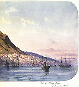 View of Hong Kong, 7 December 1865'. View showing paddle steamer and sailing vessels in the harbour and the city nestling below mountains. Hong Kong became a British territory in 1842.  Jean Henri Zuber (1844-1909) French artist. Watercolour.