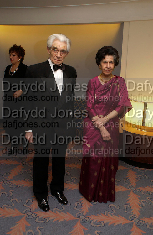 Mr. and Mrs. Charles Wheeler. Annual  Award dinner given by the Media Society in honour of Sir David Frost. Savoy. 9 March 2005. ONE TIME USE ONLY - DO NOT ARCHIVE  © Copyright Photograph by Dafydd Jones 66 Stockwell Park Rd. London SW9 0DA Tel 020 7733 0108 www.dafjones.com