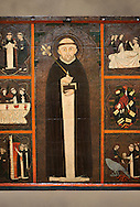 Gothic painted Panel of the life of Saint Dominic, anonymous artist from Aragon. Tempera and varnished metal plate on wood. First quarter of 14th century. 134 x 193 x 8.3 cm. From the church of Sant Miquel de Tamarit de Llitera (Huesca). National Museum of Catalan Art, inv no: 015825-000 .<br /> <br /> If you prefer you can also buy from our ALAMY PHOTO LIBRARY  Collection visit : https://www.alamy.com/portfolio/paul-williams-funkystock/gothic-art-antiquities.html  Type -     MANAC    - into the LOWER SEARCH WITHIN GALLERY box. Refine search by adding background colour, place, museum etc<br /> <br /> Visit our MEDIEVAL GOTHIC ART PHOTO COLLECTIONS for more   photos  to download or buy as prints https://funkystock.photoshelter.com/gallery-collection/Medieval-Gothic-Art-Antiquities-Historic-Sites-Pictures-Images-of/C0000gZ8POl_DCqE