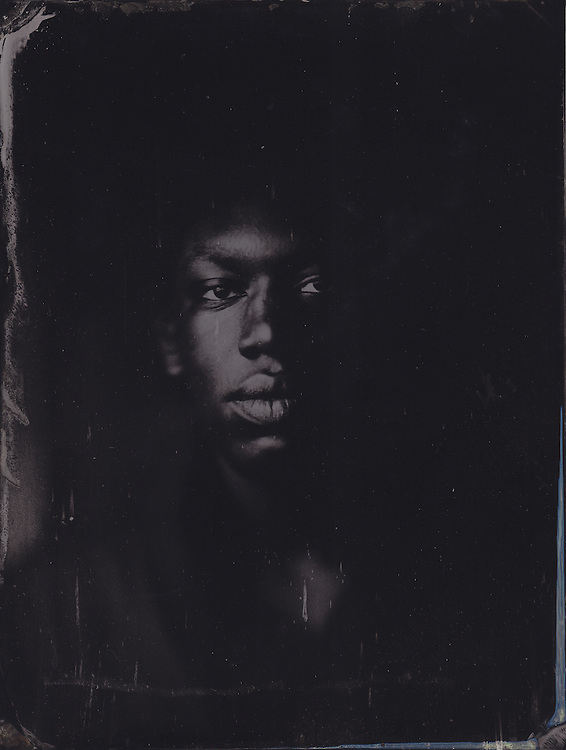 Tintype wetplate collodion plate made at Vine Street, Brighton. Nate Cambridge, singer.