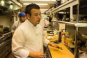 Chef Takanori Akiyama at work in the kitchen at SakaMai.