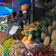 Durian, mango, pineapple, rambutan and other fruits sold on street in Phuket, Thailand