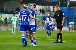 Luke McCormick of Bristol Rovers celebrates with goalscorer James Daly of Bristol Rovers - Rogan/JMP - 30/11/2020 - FOOTBALL - Memorial Stadium - Bristol, England - Bristol Rovers v Darlington - FA Cup Second Round Proper.