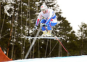 SHOT 12/1/11 12:12:49 PM - French skiier Guillermo Fayed launches himself off the Red Tail jump during men's downhill training on the Birds of Prey course at the Audi FIS World Cup on December 1, 2011 in Beaver Creek, Co. (Photo by Marc Piscotty / © 2011)
