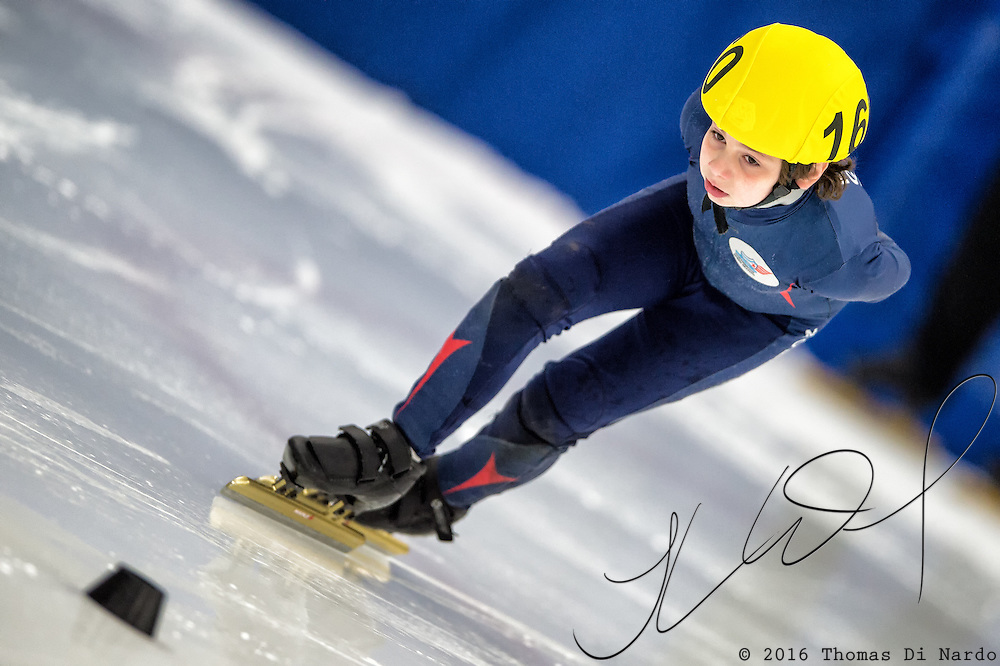 March 19, 2016 - Verona, WI - Wilson Wright, skater number 160 competes in US Speedskating Short Track Age Group Nationals and AmCup Final held at the Verona Ice Arena.