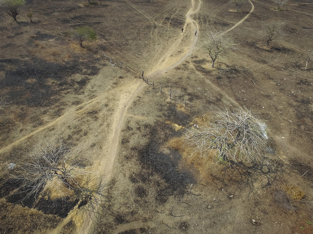 An aerial view of scorched earth near Choluteca, southern Honduras where a prolonged drought is affecting agriculture and daily life with severe water scarcity.