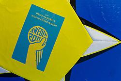 19.01.2011, Kristianstad Arena, SWE, IHF Handball Weltmeisterschaft 2011, Herren, Deutschland (GER) vs Frankreich (FRA) im Bild, // Official logo on big ball prior to the game // during the IHF 2011 World Men's Handball Championship match  Germany (GER) vs France (FRA) at Kristianstad Arena, Sweden on 19/1/2011.  EXPA Pictures © 2011, PhotoCredit: EXPA/ Skycam/ Johansson +++++ ATTENTION - OUT OF SWEDEN/SWE +++++