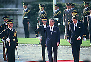 President Ronald Reagan and Japanese Prime Minister Yasuhiro Nakasone at an arrival ceremony for the economic summit in Japan on May 3, 1986<br />Photo by Dennis Brack