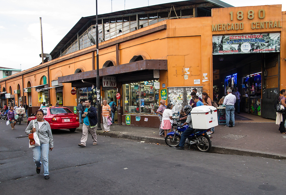 SAN JOSE, COSTA RICA - CIRCA AUGUST 2012: Exterior of Central Market circa 2012 in San Jose, a very popular attraction and the biggest market in the city  with more than 10.000 daily visitors.