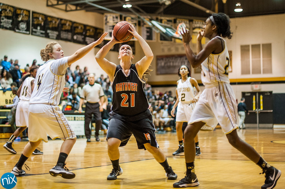 Northwest Cabarrus' Bryana Hott looks to shoot against Concord Tuesday night at Concord High School. Northwest Cabarrus won the game 38-21.