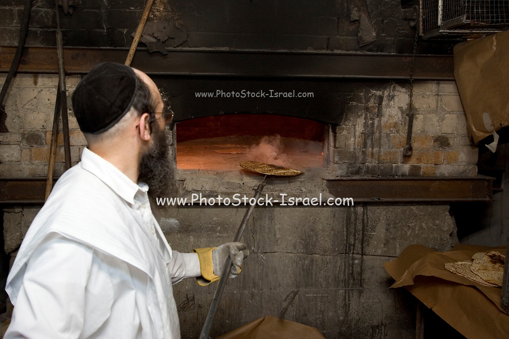 Israel, Tel Aviv, Baking Matzah. In order for the matza to be Kosher strict baking procedures must be followed, All hand made and under a strict watch of the Rabbi
