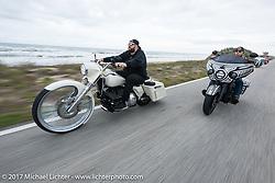 Barstorm Cycles' Sean Briggs riding his custom Barnstorm Bigwheel 2005 Harley-Davidson Road King with Jake Cutler on his custom Indian Chieftan on AIA along the Atlantic Ocean during Daytona Beach Bike Week. FL. USA. Monday March 13, 2017. Photography ©2017 Michael Lichter.