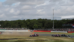 The two Torro Rosso's go off at Becketts during the 2017 British Grand Prix at Silverstone Circuit, Towcester.