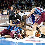Trabzonspor's Jerome Randle (C) during their Turkish Basketball League match Anadolu Efes between Trabzonspor at Abdi Ipekci Arena in Istanbul Turkey on Sunday 19 October 2014. Photo by Aykut AKICI/TURKPIX