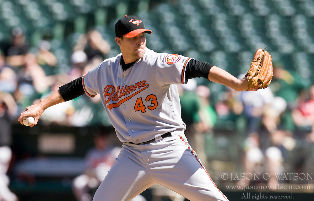 April 18, 2010; Oakland, CA, USA;  Baltimore Orioles relief pitcher Jim Johnson (43) during the eighth inning against the Oakland Athletics at Oakland-Alameda County Coliseum. Baltimore defeated Oakland 8-3.