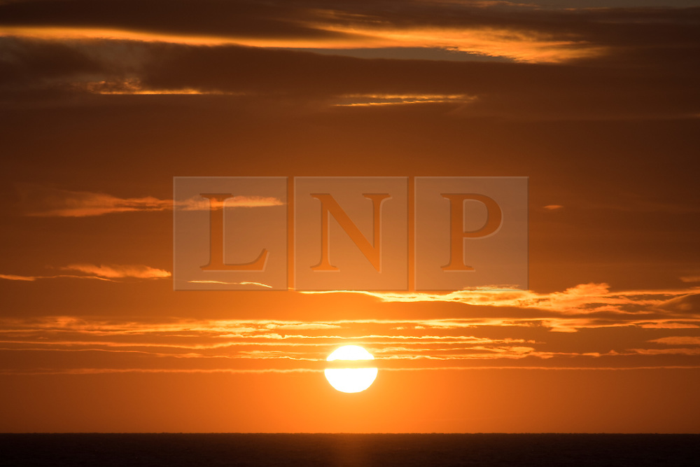 © Licensed to London News Pictures. 29/11/2016. Wick, UK.  Sunrise on a cold and windy morning in the Moray Firth this morning, 29th November 2016. Photo credit: Rob Arnold/LNP