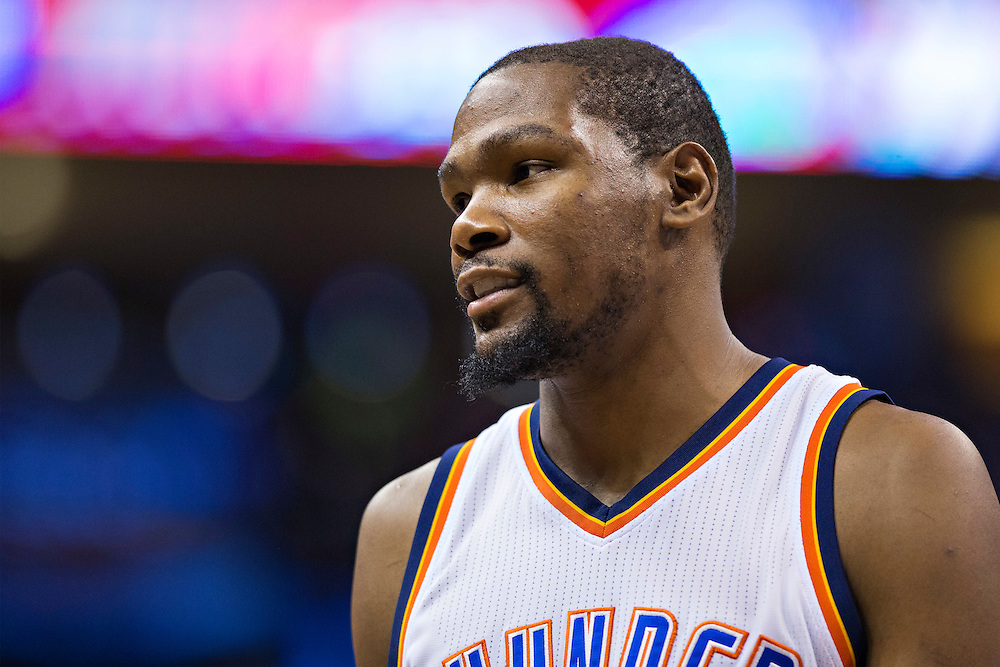 OKLAHOMA CITY, OK - JANUARY 13:  Kevin Durant #35 of the Oklahoma City Thunder talks to coaches during a game against the Dallas Mavericks at Chesapeake Energy Arena on January 13, 2016 in Oklahoma City, Oklahoma.  NOTE TO USER: User expressly acknowledges and agrees that, by downloading and or using this photograph, User is consenting to the terms and conditions of the Getty Images License Agreement.   The Thunder defeated the Mavericks 108-89.  (Photo by Wesley Hitt/Getty Images) *** Local Caption *** Kevin Durant