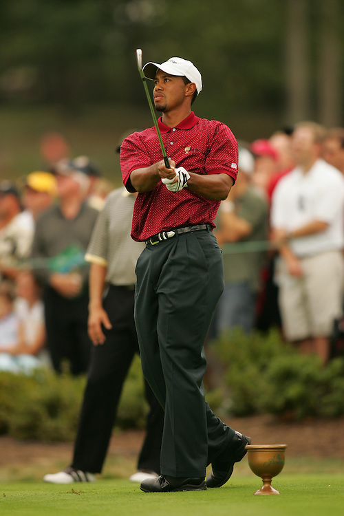 Tiger Woods<br />2005 Presidents Cup Matches<br />Sunday Singles Matches<br />Robert Trent Jones GC<br />Gainesville VA<br />Sunday, September 25,  2005<br />09-25-05<br />photograph by Darren Carroll