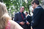 WILL SELF, Sebastian Horsley funeral. St. James's church. St. James. London afterwards in the church garden. July 1 2010. -DO NOT ARCHIVE-© Copyright Photograph by Dafydd Jones. 248 Clapham Rd. London SW9 0PZ. Tel 0207 820 0771. www.dafjones.com.