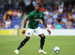 """Brightons Gaetan Bong during a pre season friendly match at The Cherry Red Records Stadium, Kingston Upon Thames. PRESS ASSOCIATION Photo. Picture date: Saturday July 21, 2018. Photo credit should read: Mark Kerton/PA Wire. EDITORIAL USE ONLY No use with unauthorised audio, video, data, fixture lists, club/league logos or """"live"""" services. Online in-match use limited to 75 images, no video emulation. No use in betting, games or single club/league/player publications."""
