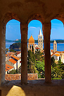 View fro St John Church tower over the medieval roof tops of Rab town . Rab Island, Craotia .<br /> <br /> Visit our MEDIEVAL PHOTO COLLECTIONS for more   photos  to download or buy as prints https://funkystock.photoshelter.com/gallery-collection/Medieval-Middle-Ages-Historic-Places-Arcaeological-Sites-Pictures-Images-of/C0000B5ZA54_WD0s