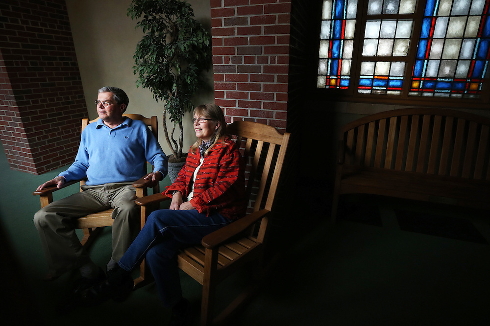 Pastor Jay Vetter and his wife Maureen pose for a portrait at Trinity United Methodist Church in Grand Island. The couple is looking forward to enjoying retirement in Colorado where they own property. (Independent/Matt Dixon)