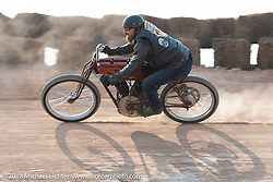 Ebay Jake racing in the Sons of Speed vintage race series at the Full Throttle Saloon during the 78th annual Sturgis Motorcycle Rally. Sturgis, SD. USA. Thursday August 9, 2018. Photography ©2018 Michael Lichter.