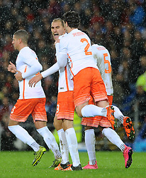 Bas Dost of The Netherlands celebrates his goal with Daryl Janmaat of The Netherlands - Mandatory byline: Dougie Allward/JMP - 07966 386802 - 13/11/2015 - FOOTBALL - Cardiff City Stadium - Cardiff, Wales - Wales v Netherlands - International Friendly