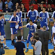 Anadolu Efes's players during their Turkish Airlines Euroleague Basketball Group A Round 9 match Anadolu Efes between Nizhny Novgorod at Abdi ipekci arena in Istanbul, Turkey, Friday December 12, 2014. Photo by Aykut AKICI/TURKPIX