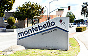 Welcome to Montebello Monument in the Median on Beverly Boulevard