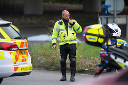 ©Licensed to London News Pictures 07/09/2020  <br /> Sidcup, UK. A man has fallen from the A20 Sidcup bypass bridge in South East London onto the road below which is Crittalls corner roundabout. Police are on scene. Photo credit: Grant Falvey/LNP