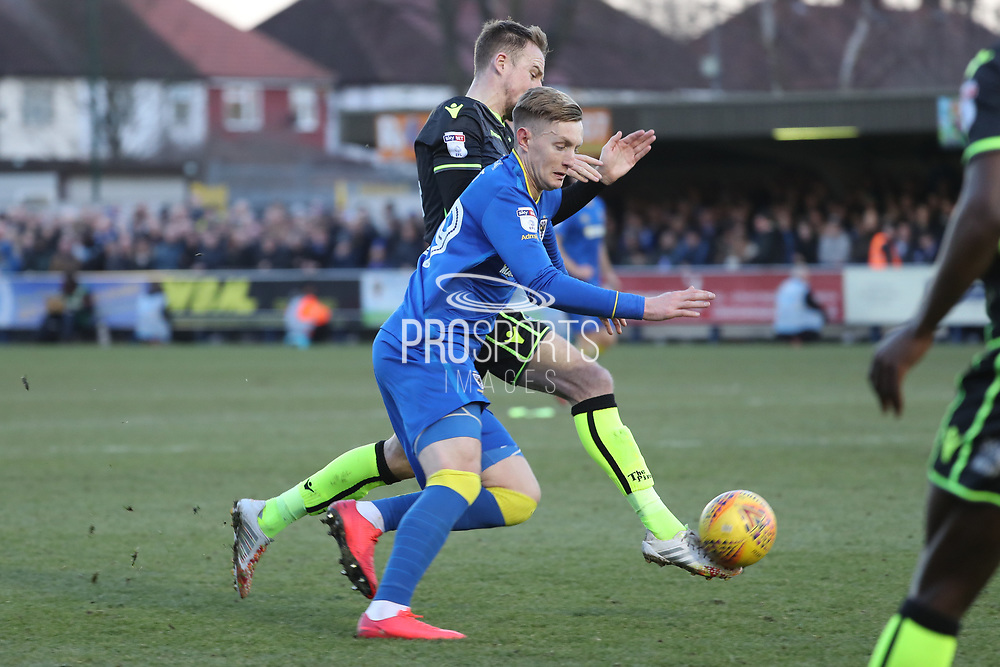 AFC Wimbledon striker Joe Pigott (39) battles for possession during the EFL Sky Bet League 1 match between AFC Wimbledon and Bristol Rovers at the Cherry Red Records Stadium, Kingston, England on 17 February 2018. Picture by Matthew Redman.
