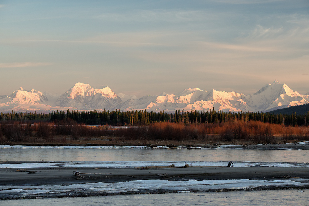 Mcginnis Peak, Mount Moffet, Mount Shand, and Mount Hayes along the Tanana River, Alaska