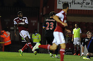 Bristol city's Jay Emmanuel-Thomas (l)  shoots and scores the 1st goal.  Capital one cup match, 2nd round, Bristol city v Crystal Palace at Ashton Gate stadium in Bristol on Tuesday 27th August 2013. pic by Andrew Orchard , Andrew Orchard sports photography,