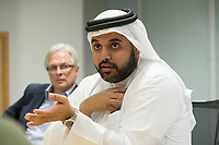09 APR 2013, DOHA/QATAR<br /> Fahad Bin Mohammed Al-Attiyah, Chariman Qatar National Food Security Programme, waehrend einem Gespraech mit Journalisten, Innenministerium Katar<br />  IMAGE: 20130409-01-050<br /> KEYWORDS: Katar