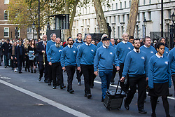 London, UK. 10 November, 2019. Ex-services personnel from Veterans For Peace UK (VFP UK) take part in the Remembrance Sunday ceremony in Whitehall, followed by their families. VFP UK was founded in 2011 and works to influence the foreign and defence policy of the UK for the larger purpose of world peace.