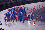 Lizzy Yarnold, Team GB flag bearer, leads Great British Winter Olympic team during the 2018 Winter Games Opening Ceremony at Pyeongchang Olympic Stadium  on 9th February 2018 in Pyeongchang, South Korea