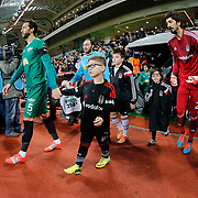 Besiktas's goalkeeper Tolga Zengin (R) and Akhisar Belediyespor's Bilal Kisa (L) during their Turkish Super League soccer match Istanbul Besiktas between Akhisar Belediyespor at the Basaksehir Fatih Terim Arena at Basaksehir in Istanbul Turkey on Sunday, 21 December 2014. Photo by Aykut AKICI/TURKPIX
